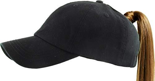 Pony-Classic BLK Classic Ponytail Baseball Caps Classic Cotton Dad Hat Adjustable