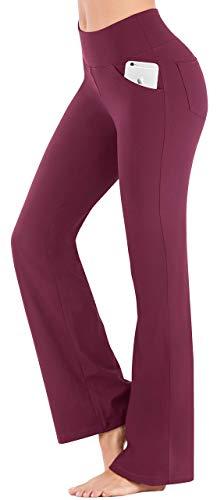 IUGA Bootcut Yoga Pants with Pockets for Women High Waist Workout Bootleg Pants Tummy Control, 4 Pockets Work Pants for Women Maroon