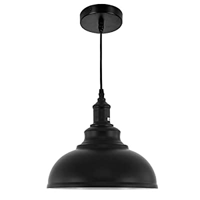 HMVPL Farmhouse Pendant Lighting Fixtures, Black Hanging Chandelier Lights Industrial Ceiling Lamp for Kitchen Island Dining Room Hallway Bedroom