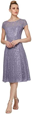 S L Fashions Women s Plus Size Sequin Fit and Flare Dress Mystic Heather 20W product image