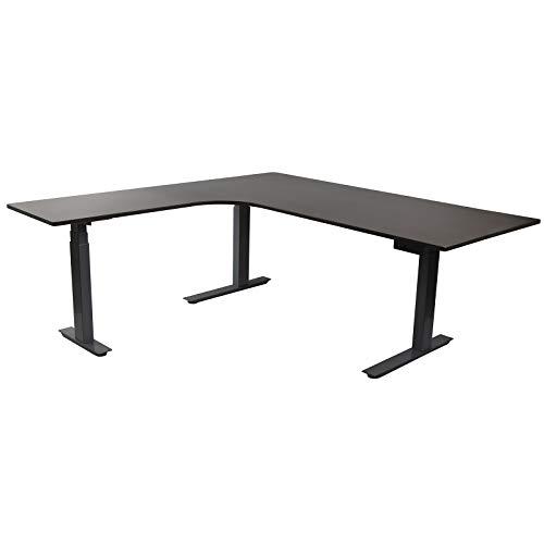HORI® Eck-Schreibtisch PC Computertisch oder als Arbeitstisch mit elektrisch höhenverstellbarem Tischgestell I Maße: 120 x 120 x 68 cm | bis 120 kg I Schwarzes Eck-Tischgestell mit anthraziter Platte