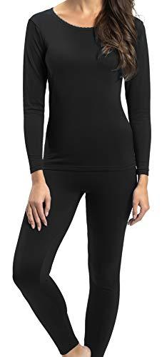Rocky Thermal Underwear for Women Heavyweight Fleece Lined Thermals Women#039s Base Layer Long John Set Black  Heavyweight  Small