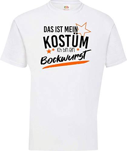 Shirtinstyle T-Shirt Das ist Mein Kostüm ich Bin eine Bockwurst Karneval Fasching Kostüm Verkleidung, Weiss, L