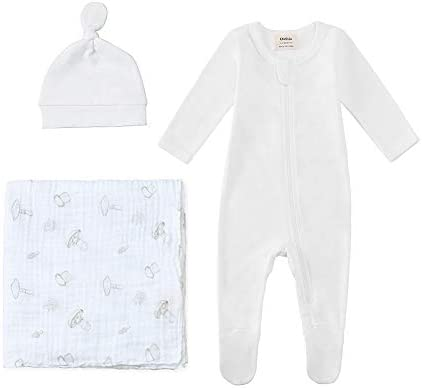 Owlivia Organic Take Me Home Outfit Set Newborn Baby Boy Girl Footed Pajama Hat and Muslin Blanket product image