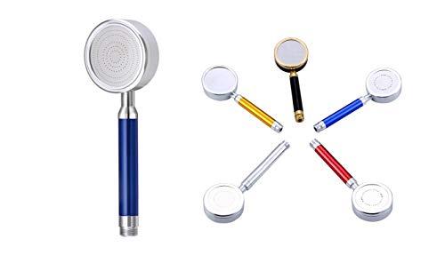 CFMOUR - Soffione doccia di ricambio in metallo ad alta pressione, 4 colori (argento, rosso, oro, blu), potente filtro per vasca da bagno universale, in alluminio, oro