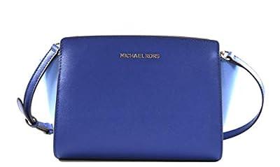 Michael Kors Women's Selma Medium Saffiano Leather Messenger Crossbody Bag Purse Handbag, Merlot (Merlot)