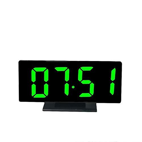 dongzhifeng Despertadores Junto a la Cama Sin tictac Led Espejo Reloj Multifuncional Posponer Hora Pantalla Noche Mesa Luz LCD Escritorio Línea de Datos USB Reloj Despertador Digital Verde
