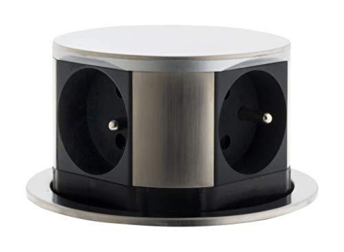 Product 760096 messenblok met 4 stopcontacten verborgen Compact 16 A 2p + T Finish roestvrij staal grijs/zwart