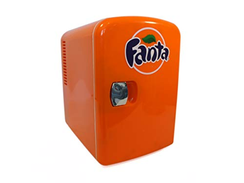 Coca-Cola Fanta FA04 4 Liter/4.2 Quarts 6 Can Portable Mini Cooler/Fridge for Food, Beverages, Orange