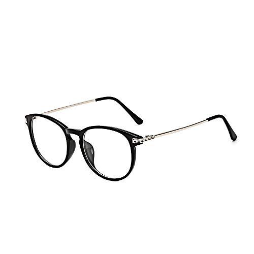 BOZEVON Gafas Falsas para Mujeres Hombres - Gafas de Sol Sin Receta Clásicas Ultraligeras Montura Gafas Vintage Lentes Transparentes para Mujeres y Hombres, Negro brillante B, No es luz azul