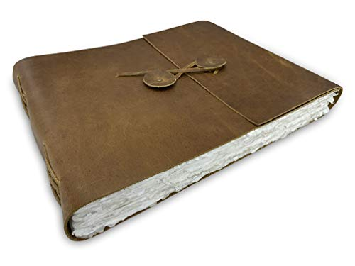 Wanderings Leather Watercolor Scrapbook Journal - Large Genuine Leather Album with Handmade Deckle Edge Paper for Scrapbooks, Watercolor, Albums - 10x12.5' - 350 GSM