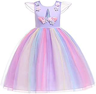 3-12 Y Girls Unicorn Fairy Clothing Kids Unicorn Costume girls Unicorn Pageant Party Dresses