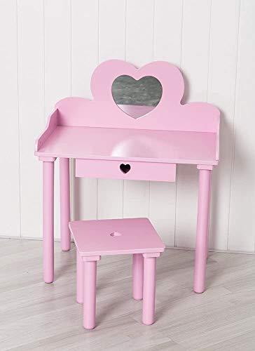 Kinder Mädchen rosa Holzherzförmigen Kosmetikspiegel und Hocker,Pink
