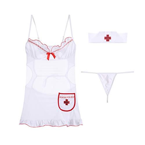 TENDYCOCO 1 Set Cosplay-Rollenspiel-Outfits für Krankenschwestern in Frauenweiß