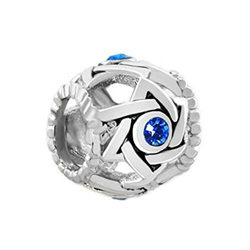 Auténtico Pandora 925 Colgante De Plata Esterlina Diy Piedra De Nacimiento Cristal Azul Filigrana Estrella De David Dru Lucky Charms Bead Fit Pulsera