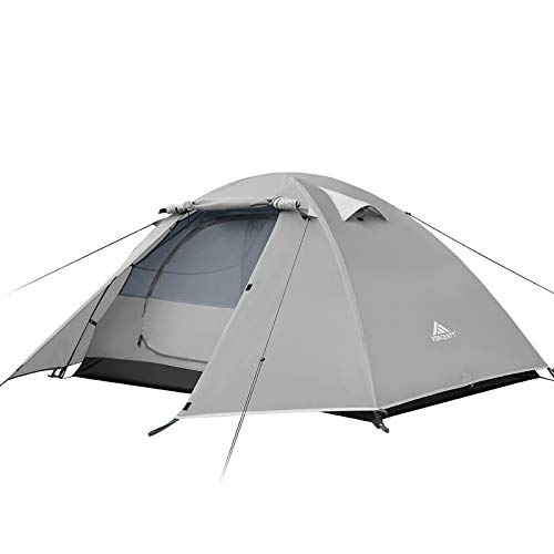 Forceatt Zelt 2 und 4 Personen Camping Wasserdicht 3-4 Saison,Ultraleicht Zelte Mit Kleinem Packmaß, Kuppelzelt Sofortiges Aufstellen Für Trekking, Outdoor, Festival. (2 Leute-grau Weiß)