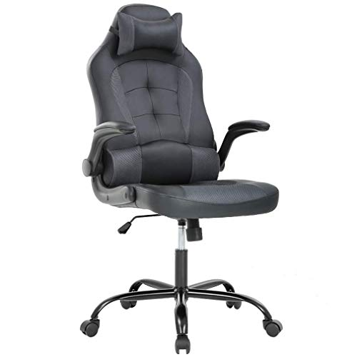 Cheap PC Gaming Chair Ergonomic Racing Heavy Duty Office Chair Video Game Chair, Grey PU Leather Chic Desk Chair, Lumbar Support Flip Up Arms Headrest Swivel Rolling Adjustable Best Home Office Chair