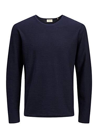 Jack & Jones JJESLUB Knit Crew Neck STS Suter Pulver, Azul (Navy Blazer Navy Blazer), S para Hombre