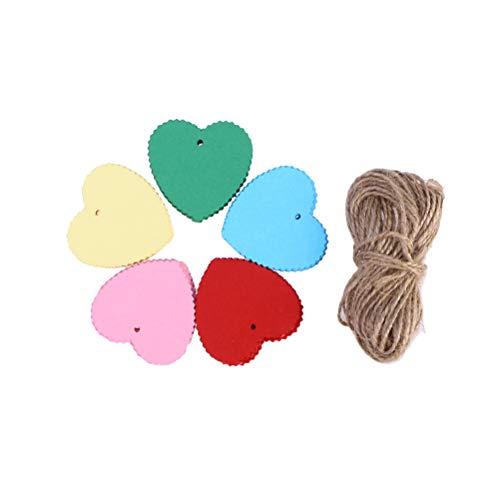 Supvox Etiquetas para colgar en forma de corazón Etiquetas de regalo de papel con agujero Tarjetas de mensaje en blanco coloridas 200 piezas (5 colores aleatorios, con cuerda de 10 m)
