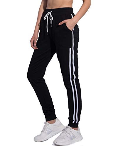 PULI Women Running Sweatpants High Waist Jogger Workout Sweat Pants with Pockets Black XS