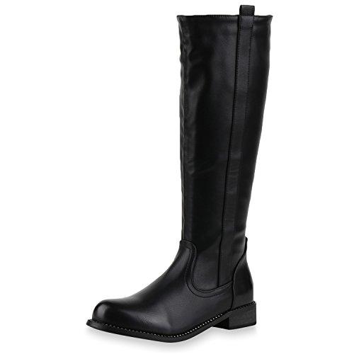 SCARPE VITA Damen Leicht Gefütterte Klassische Stiefel Boots Strass Leder-Optik 148792 Schwarz 37
