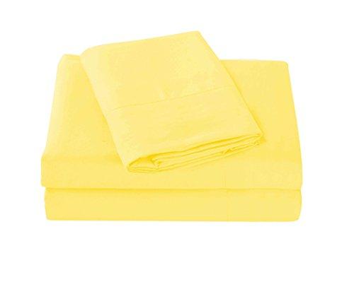 Super Soft 1800 Series Cotton Touch Microfiber 4 Piece Sheet Set (Yellow, Queen Size)