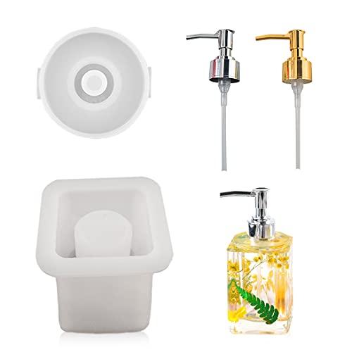 Koonafy 4PCS Moldes Silicona Resina Epoxi,Silicona para Epoxy de Square Molde,DIY Fabricación de Botellas de jabón de Loción de Manos de baño con 2 Dispensadores de Pumb(Square)