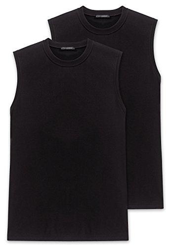 Schiesser Herren Shirt 0/0 Arm (Doppelpack) Unterhemd, Schwarz (000-schwarz), 8 (XXL)