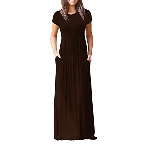 Bekleidung Damen AMUSTER Lange Kleider Frauen Kurz Hülsen Lose Einfache Maxi Kleider Beiläufige Lange T-Shirt Kleid mit Taschen Tunika Kurzarm T-Shirt Kleid (XXL, Kaffee)