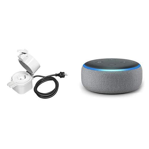 Echo Dot tessuto grigio scuro + Osram Smart+ Plus Presa da Esterno, Grigia