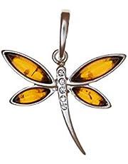 Artisana-Schmuck - Colgante de pequeña libélula de ámbar y plata de ley 925/000