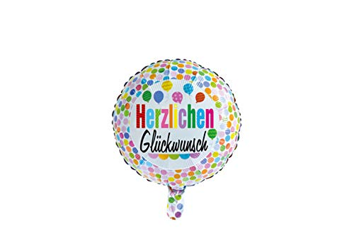 Folie ballon rond 46 cm groot met tekst Herzlichen Glückwunsch