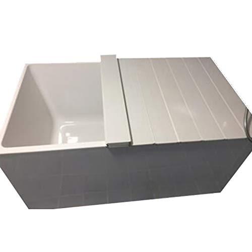 LwBathtub tray Badewannenabdeckung Anti-Staub Falten Staubplatte Badewanne Isolierabdeckung PVC weiß 66 * 75 * 0,7 cm