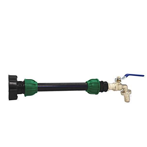 Adaptador de depósito de desagüe IBC para grifo de jardín con tubo de extensión PE, multitanks empalme de grifo, salida de conexión rápida para aceites, combustible y agua