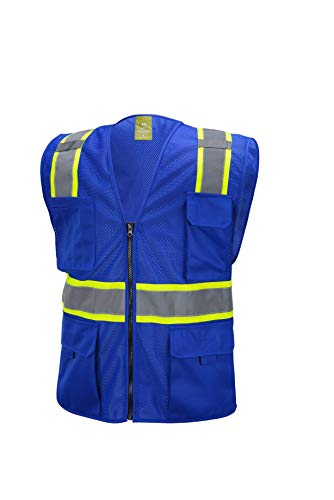Blue Two Tones Safety Vest ,With Multi-Pocket Tool (M)