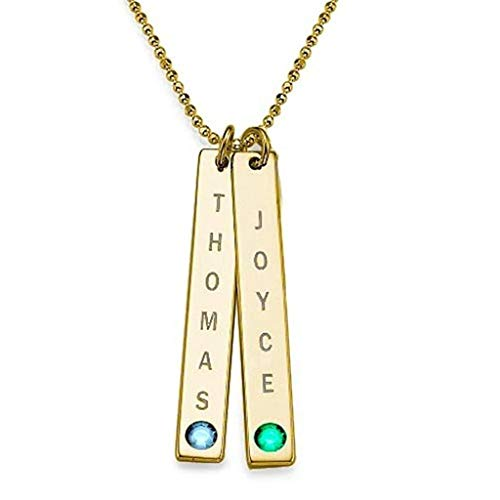 J. Brace - Collar de barra de oro de 24 quilates con nombre personalizado