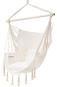 MoonLa Hammock Chair Hanging Rope Swing Seat Chair with Pocket Max 350 Lbs for Indoor Outdoor Home Bedroom Garden Seat Cushions Not Included  Beige
