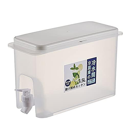 Hervidor frío con grifo, dispensador de bebidas de 3.5 L para nevera, dispensador de bebidas refrigerador, cubo de jugo, utensilios de cocina hervidor olla de agua fría jarra resistente al (blanco)
