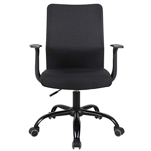 PLEASUR Home computer chair Conference staff chair Office lift swivel chair Study room writing chair Living room leisure stool Outdoor balcony chair (Color : Black, Size : 50cm*50cm*92.5cm)