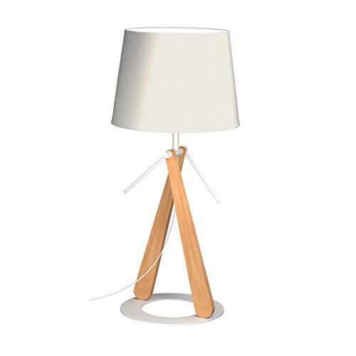 Aluminor ZAZOU LT B LAMPE A POSER, Bois Naturel+AJ Blanc+Socle Blanc