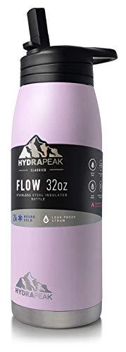 Hydrapeak Flow - Botella de agua de acero inoxidable de 32 onzas | Termo aislado al vacío | Libre de BPA y a prueba de fugas | Frasco de boca ancha con paja antideslizante | On...