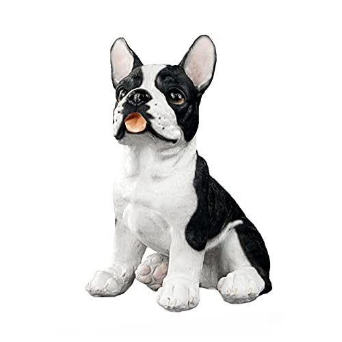 QXX Realistic Sitting French Bulldog Statue Resin Animal Garden Sculpture Lovely Puppy Figurines for Yard Lawn,