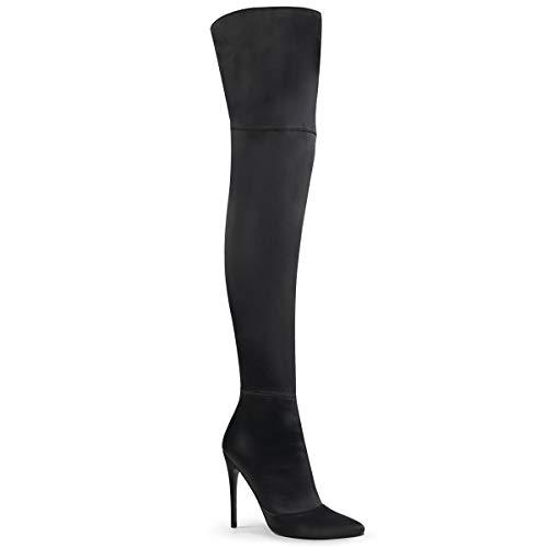 Pleaser COURTLY-3012 Damen Overknee Stiefel, Stretch Satin Schwarz, EU 40 (US 10)