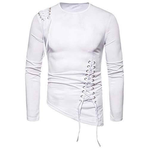 Xmiral Sweatshirt Pullover Herren Einfarbig Unregelmäßig Schnürung Tops Hemd Lange Ärmel Rundhals Tops Sportbekleidung(Weiß,M)