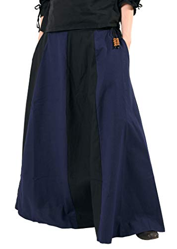 Mittelalterlicher Rock, weit ausgestellt aus schwerer Baumwolle Mittelalter LARP Wikinger Kostüm verschiedene Ausführungen (XXL, Schwarz/Blau)