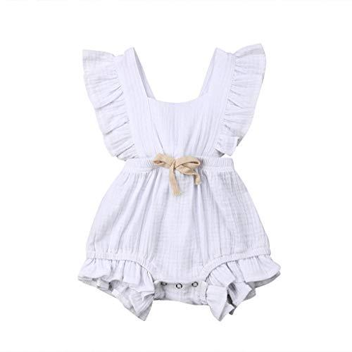 JUTOO Neugeborenes Baby Mädchen Kinder Farbe einfarbig Rüschen Rückkreuzspielanzug Bodysuit Outfits (Weiß,80)