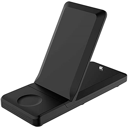 Kettles 3 en 1 estación de Carga Qi Soporte de Carga inalámbrica 15W Dock de Cargador inalámbrico rápido Compatible con Apple Watch y iPhone Otro teléfono Qi habilitado
