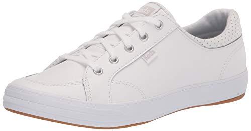 Keds Women's Center II Sneaker, White Leather, 9 Medium