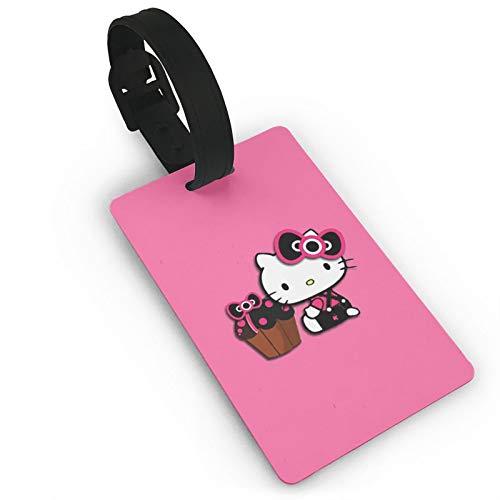DNBCJJ Etiquetas de equipaje para maletas Hello Kitty etiqueta de equipaje, con nombre ID maleta para mujeres, hombres, niños, accesorios de viaje