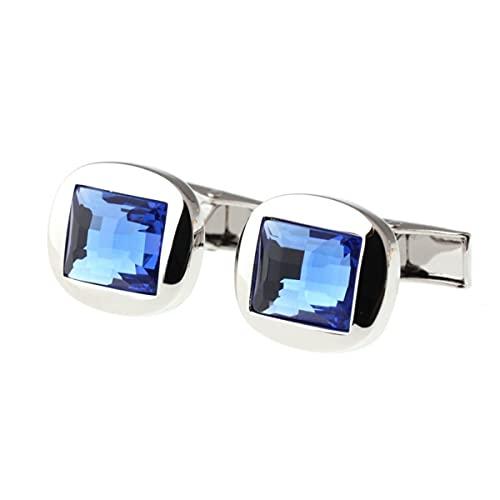 Gemelos Cuadrados Gemelos De Cristal Azul Gemelos De Camisa Francesa para Hombres para Actividades De Negocios con Caja De Regalo